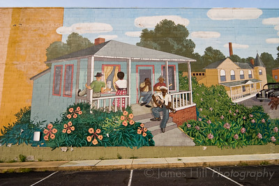 This section of the mural depicts local blues man John Dee Holeman sitting on his front porch, playing with some friends.  This is the section I was asked to photograph John Dee in front of.  John is very proud of the mural according to good friend Russ Comer, who asked me to take on this project.