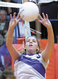 jhbloom/ganvb4 - Tabatha Chastang of Bloomfield sets the ball in game two.