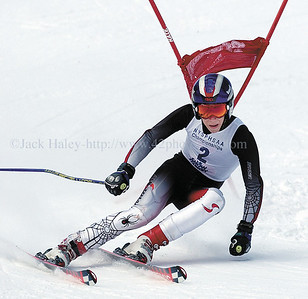 jhboysgs1 - Nate Fultz of Pittsford Sutherland makes his first run in the Giant Slalom on Wednesday 3/1 at Bristol Mountain in the state championships.