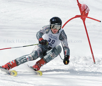jhboysgs4 - McQuaid's Chris Burgart is on his edges as he makes his first run in the GS at the state championships last Wednesday.