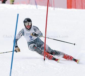 jhboysski2 - McQauaid's Chris Burgart makes a turn during the slalom at the state championships on 2/28 at Bristol Mountain.
