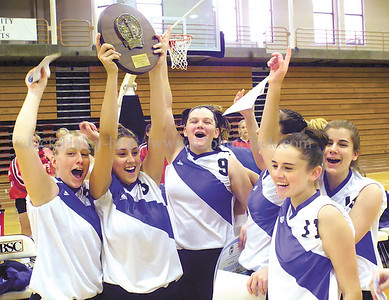 jhbloomvb1 - The Bloomfield Bombers celebrate their Class D Western Regional Championships.;