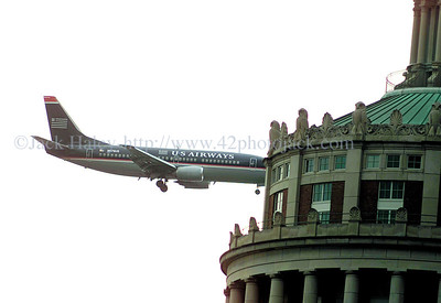 jhairplane - It looks like this US Airways plane is about to crash into the tower at the Library at the University of Rochester on Sunday.