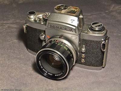 The Miranda GT (35mm) with an Auto Miranda 50mm f1.8 lens and Miranda T meter prism.  This camera is a close duplicate of the first SLR camera I owned in 1966 and is the same model as the one in the picture at this link:    http://johnwright.smugmug.com/Photography/Our-Ego-Gallery/scan0001/111683750_fwzR4-L.jpg