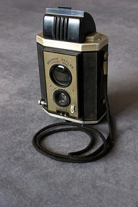 "Kodak Brownie Reflex, Syncro Model. This camera produced a negative 1 5/8"" square negative on 127 size film."