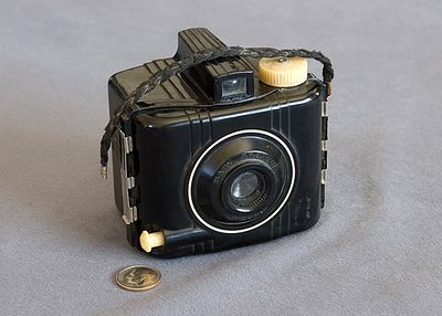 "Baby Brownie Special (First camera I ever owned, at age 8) 127 size film produced an image 1 5/8 X 2 1/2"" in size."