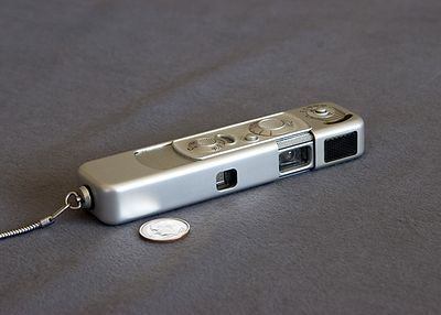 Minox B (the original spy camera)  This camera uses Minox 8X11mm film cartridges