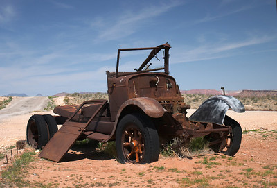 Old worn out jalopy off the I-10 or I-15 freeway out in the California deserts.
