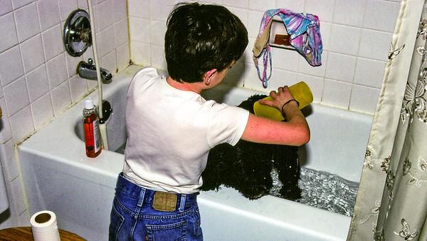 Giving Pepper a bath - 1988