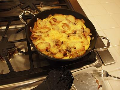Spanish style potato and onion frittata.