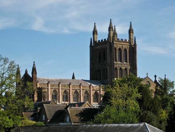 22 August 2011 Looking over the rooftops to Hereford Cathedral