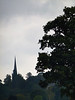 I know this shot isn't particurlarly good technically, but for some reason I like it.  I like the almost silouette nature of it - and the hints of green in the trees.  The church spire seems to balance the forground tree.  What do others think?
