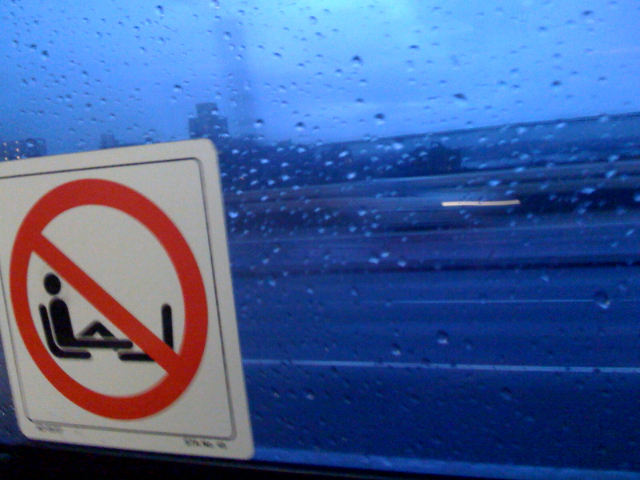Day 98 <br /> <br /> A wet day in Sydney - in fact it has been wet and cold ever since the pope left - go figure! Oh and you're not allowed to put your feet up here but that's no surprise :)<br /> <br /> Mom is in town and they want me to head to the blue mountains next weekend - I can't think of anything more dreary ..  ..