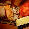Day 23<br /> <br /> A some what more German dinner (there was sausage involved as well but it didn't live to make the photo).<br />  <br /> That's King Island Brie (or what's left  of it and a reduced price sourdough baguette (very nice). <br /> <br /> Also featureing in my meal was some ice berg lettuce (crunchy green water) & a cucumber. Jarlsberg was the King island's understudy.