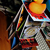 "Day 4<br /> <br /> You have no idea how many times I had to stack this =). Though the rubber ducky was safe on top of the house of cards. Most of those cards are actually photos mounted on cardboard sent to me by a good friend (who is reading this =)). <br /> <br /> Man my desk is messy - I can spy a lot of various techno-cruft sprouting from the desk surface.  The rubber ducky is actually schwag from some sql company .. ""get your sql ducks in a row"".  It's a land-duck, it has never seen water .. if I had a bath tub it might have =)"
