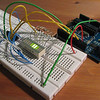 "Day 85  Shiiiifty ..  Awesome - it worked. That's an <a href=""http://www.arduino.cc"" target=""_blank"">Arduino</a> Dice..Diece..a uhm... embedded board hooked up to a 74HC595N shift register (/w latch) and it's making pretty patterns .. well it would be if that wasn't a still photo.. anyways .. good to see that I didn't fry the poor thing =)."