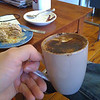 Day 94 <br /> <br /> A wonderfully relaxed moment - you van clearly see that i had to swap my photo taking vs coffee drinking hand :) - Oh and one more thing - this was shot on my iPhone 3G which is on Threeeeeee woooo! (so no need to cancel and plan, and the phone was paid for =) ) <br /> <br /> Uhm yeah the apple/apricot crumble was mine too =) .. come on .. it's 2 pm and I haven't had any lunch ..