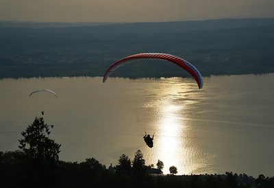 Paragliders over the lake of Zug, Switzerland