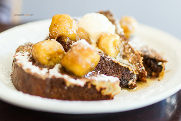 """Chocolate-Chip Banana Bread French Toast; topped with caramelized bananas and whipped butter; <a href=""""http://www.jethrosfinegrub.com"""">http://www.jethrosfinegrub.com</a>; personal project, July 2014"""