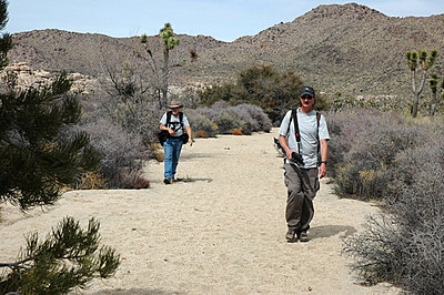Hiking out of the Wall Street Mill area, Joshua Tree.  Photo by Dave Goodwin.
