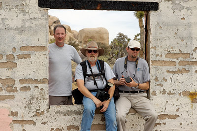 "The ""Pink Ranch House"",  Joshua Tree National Park. Alan, myself and Dave.  Photography by Alan Haynes."