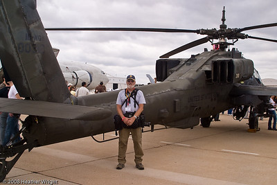In front of the Apache at the Miramar Air Show in 2008.  Photo by Heather Wright.