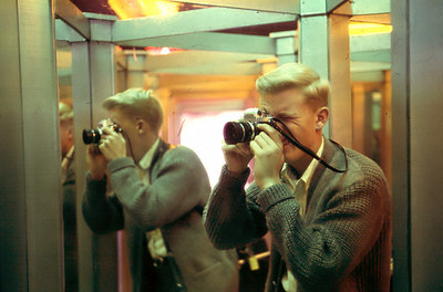 Possibly the earliest image of me doing photography.  This was a self-portrait taken in a mirror maze at the old Pike Amusement Park in Long Beach, Ca., in 1967.  I was 21 at the time...  The camera is a Miranda GT.