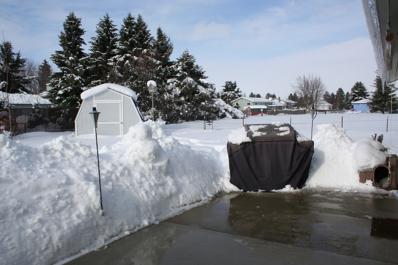 The snow is almost as high as our BBQ