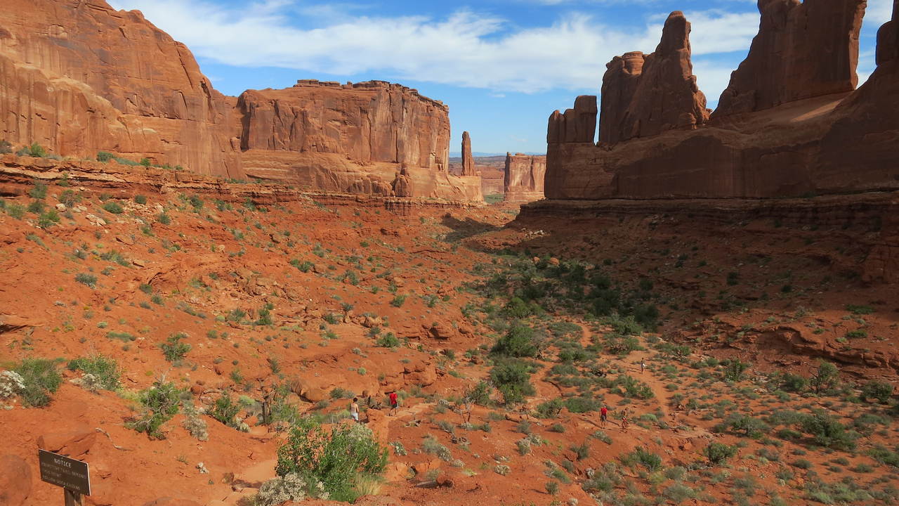 Park Avenue in Arches is a beautiful canyon.  Notice the trail going down along the bottom.