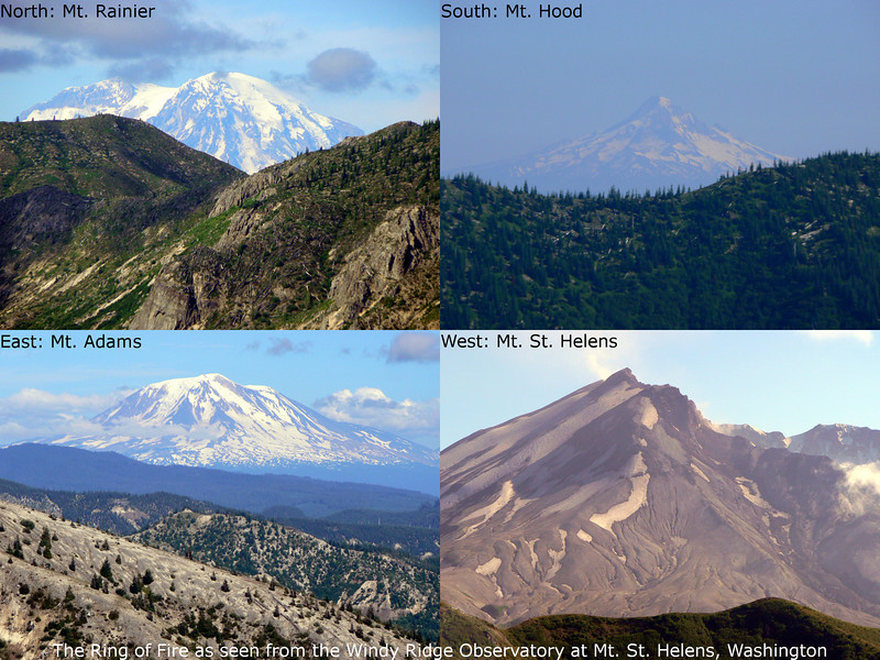 The four volcanic peaks visible from Windy Ridge at Mt. St. Helens, Washington State.