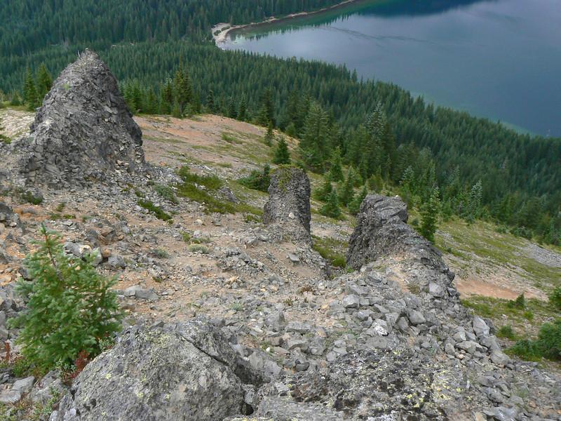 Looking Down on Stone Pillars