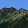 Here's a closer look at the summit ridge from the lake. Note some extremely interesting features.