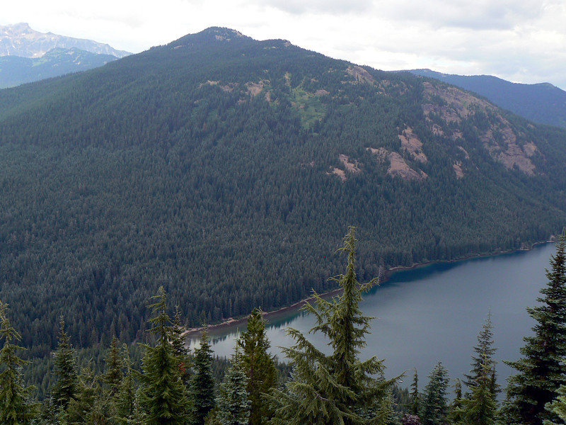 National Forest Service Campground is in the woods at the left end of the lake.