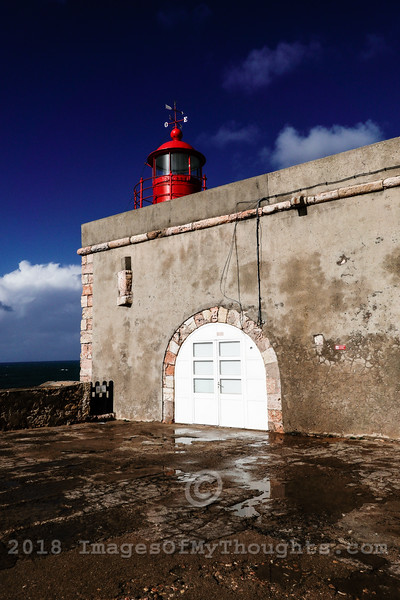 The Nazare lighthouse on the roof of Forte Sao Miguel Arcanjo. Nazaré is a coastal town and a municipality in Oeste region. It is one of the most popular seaside resorts in the Silver Coast, Costa da Prata, Portugal.