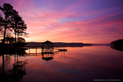 South Carolina - the sun rises across the lake.