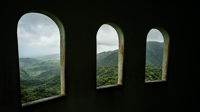 Room with a view...Windows open to a beautiful scenic view in the Puerto Rican rainforest.