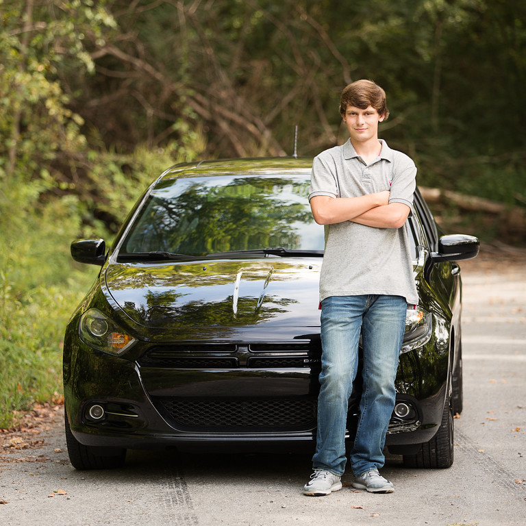 Chattanooga Senior Boy Photography boy and his car