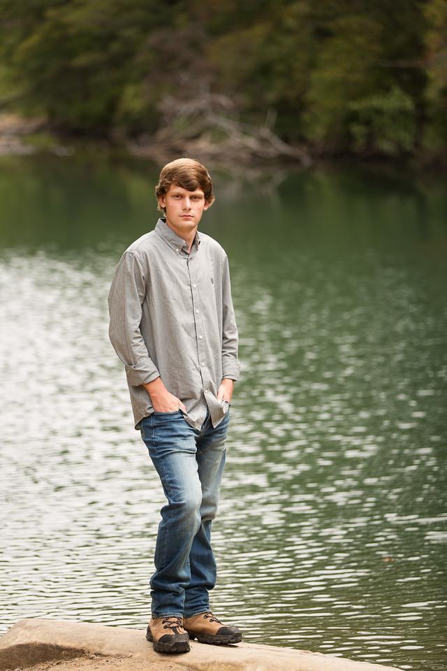 Senior boy Chattanooga water poses