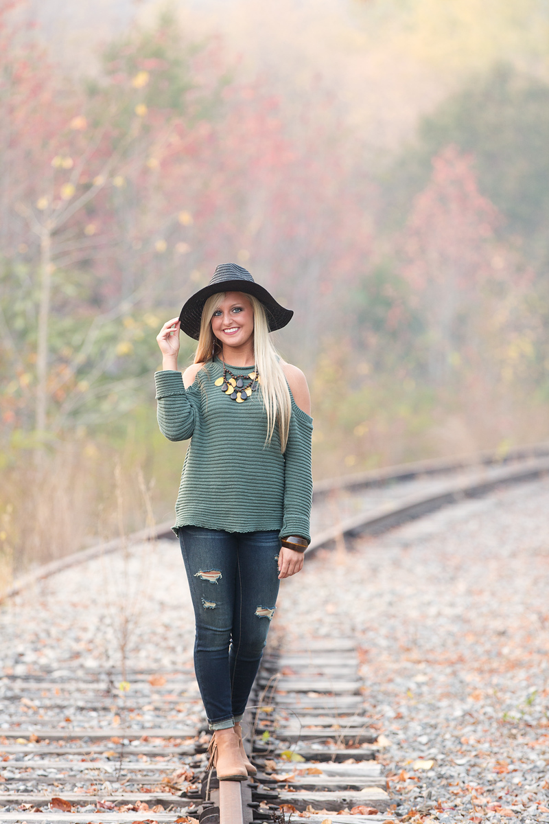 Senior girl on railroad tracks Chattanooga Senior Pictures