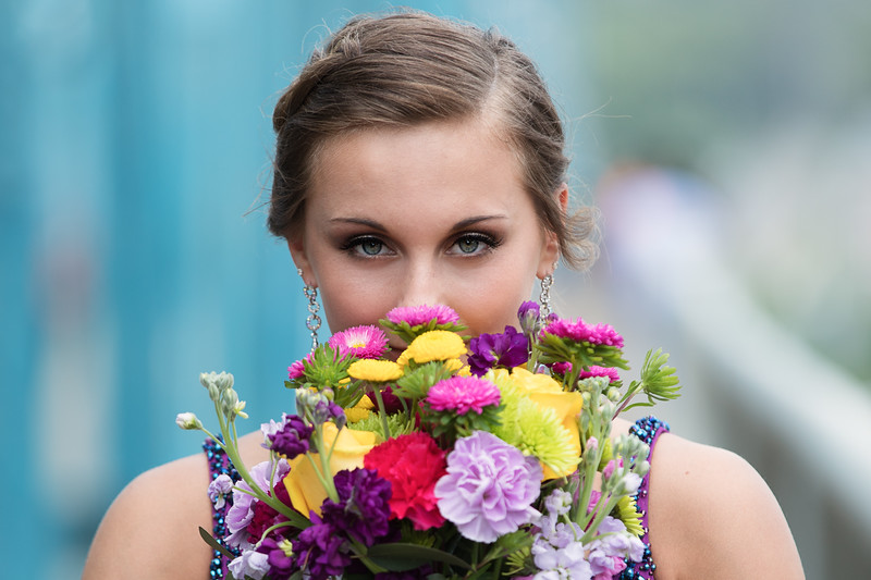Senior prom photos girl with bouquet by Pamela Greer Photography