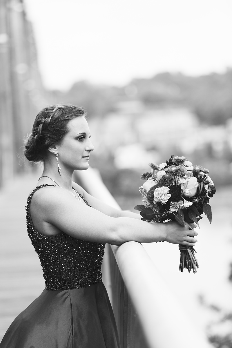 Ringgold prom senior girl in black and white by Pamela Greer Photography