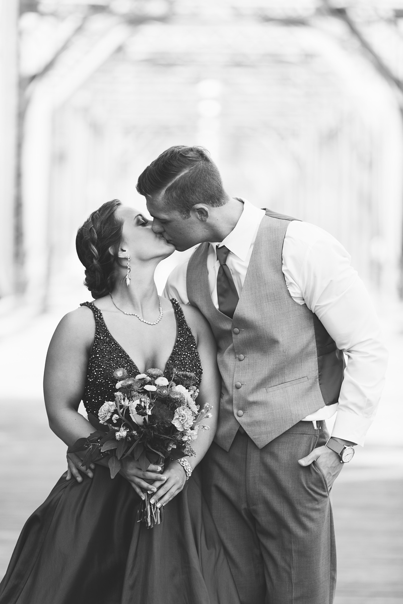 Ringgold senior prom couple kissing in black and white by Pamela Greer Photography