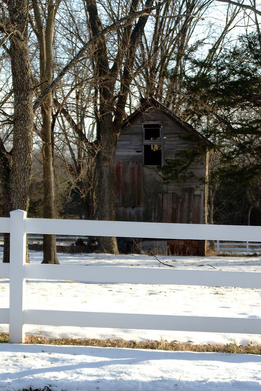 December 31, 2009..barn and snow by Brandi's house