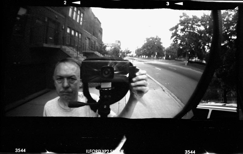 Cardboard pinhole camera, me, Washington, DC, 2002.