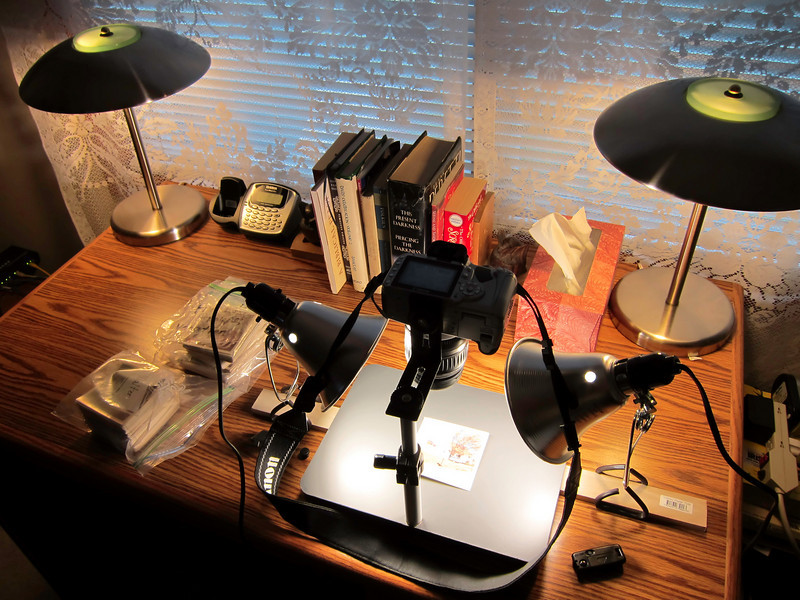 This is a photo of my copy-stand setup.