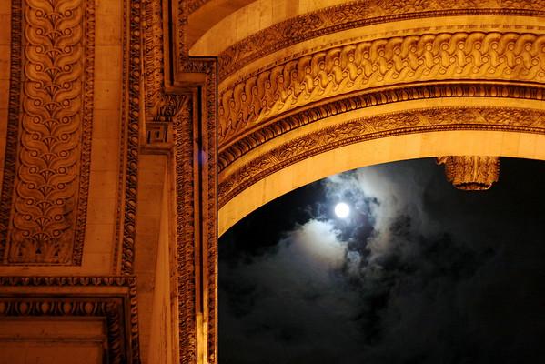 Moon over Arc de Triomphe –Paris, France