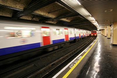 Tube trains at Underground Station – London, UK