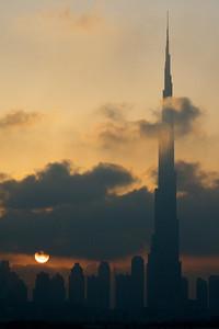 Burj Khalifa at sunset - Dubai, UAE