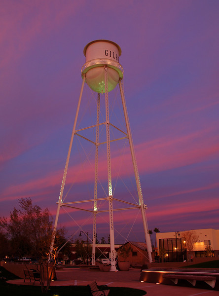 Water Tower with Mauve Skies