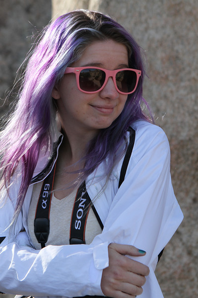 Anne stays cool with her pink UV shades.